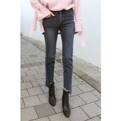 PPGIRL - Frey-Hem Straight-Cut Jeans