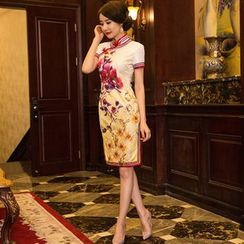 Miss Four Qipao - Floral Print Short-Sleeve Qipao