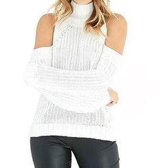 Obel - Stand Collar Shoulder Cut Out Sweater