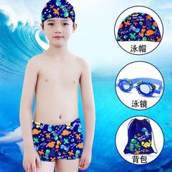 Mermaid's Tale - Kids Dinosaur-Print Swim Shorts + Swim Cap