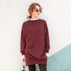 PPGIRL - Frilled-Trim Slit-Side Pullover