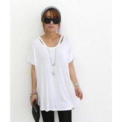 DANI LOVE - Short-Sleeve Cutaway Trim Cotton T-Shirt