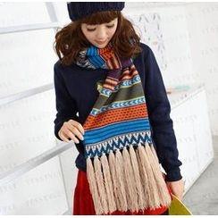 59 Seconds - 流蘇圖案針織圍巾