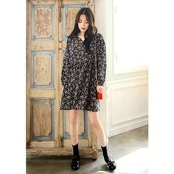 DEEPNY - Long-Sleeve Floral Print Dress