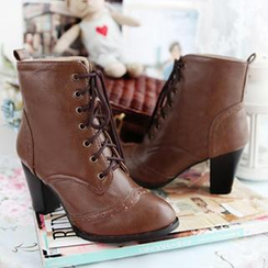 Sidewalk - Lace-Up Chunky Heel Short Boots