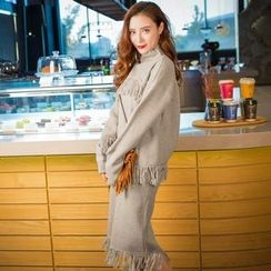 Daiyake - Set: Mock-Neck Fringe-Trim Knit Top + Fringe-Trim Knit Skirt