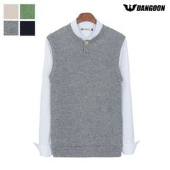 DANGOON - Button-Neck Sleeveless Knit Top