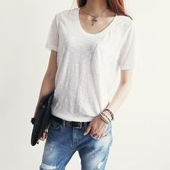 NANING9 - Scoop-Neck Distressed T-Shirt