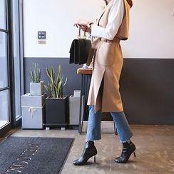DABAGIRL - Wool Blend Long Vest with Sash