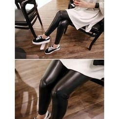 hellopeco - Faux-Leather Brushed-Fleece Leggings