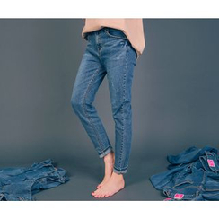 HOTPING - Distressed Straight-Cut Jeans