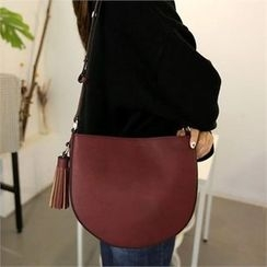 QNIGIRLS - Half-Moon Tasseled Shoulder Bag