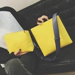 Velocia - Set of 2: Color Block Shoulder Bag + Zip Pouch