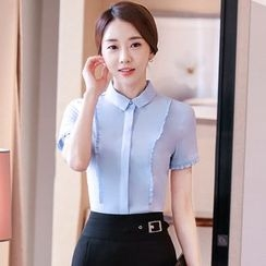 illusione - Short-Sleeve Blouse / Buckled Pencil-Cut Skirt