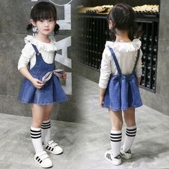 Merry Go Round - Kids Set: Ruffle Trim Long-Sleeve T-Shirt + Denim Suspender Skirt