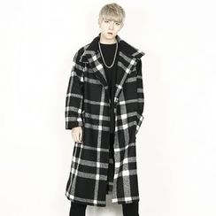 Remember Click - Wool Blend Check-Pattern Long Coat
