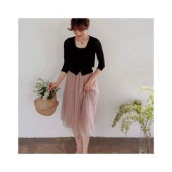 LEELIN - Band-Waist Tulle Skirt