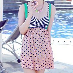 小桃泳衣 - 图案裙式泳衣