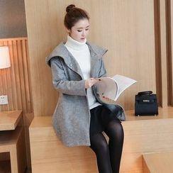 Hanaya - Plain Long Hooded Woolen Jacket