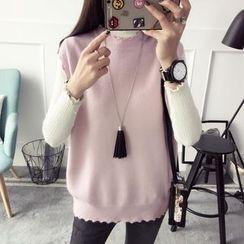 Qimi - Scallop Trim Knit Vest