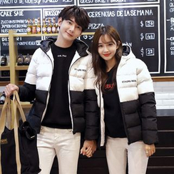 Bonne Nuit - Couple Matching Colour Block Padded Coat