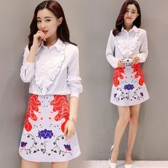 Mandalle - Set: Embroidered Shirt + Printed A-Line Skirt