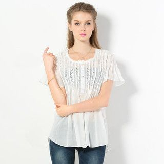 59 Seconds - Short-Sleeved Lace Trim Blouse