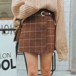 TREEZIN - Plaid A-Line Skirt