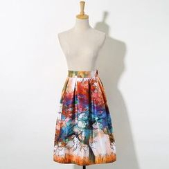 V-MAY - Printed Pleated A-Line Skirt