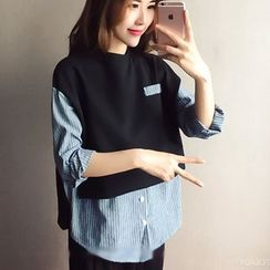 YOSH - Pinstripe Mock Two-piece Blouse