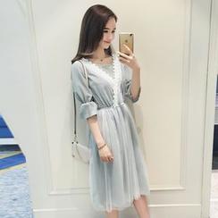 VIZZI - 中袖束腰連衣裙