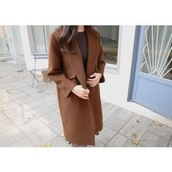 Hello sweety - Flap-Pocket Wool Blend Long Coat