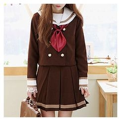 Sechuna - Set: Double-Breasted Jacket + Mini Pleated Skirt