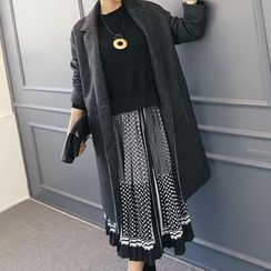 DANI LOVE - Notched-Lapel Buttoned Wool Blend Coat