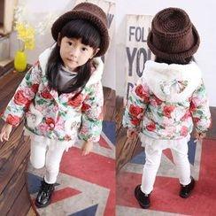 POMME - Kids Floral Print Hooded Padded Jacket