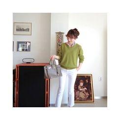 LEELIN - Wool Blend V-Neck Sweater