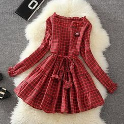 Clementine - Plaid Long Sleeve Tiered Dress