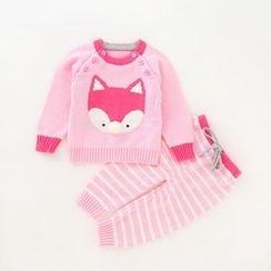 JIMIJIMI - 嬰兒套裝: 狐狸毛衣 + 條紋褲
