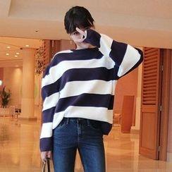 Seoul Fashion - Crew-Neck Rugby-Stripe Knit Top