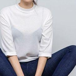 chuu - 3/4-Sleeve Cuff-Detail T-Shirt