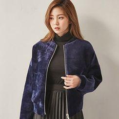 chuu - Welt-Pocket Velvet Zip Jacket