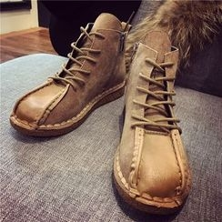 Hipsole - Faux-Suede Lace-Up Ankle Boots