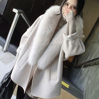 NEUF - 孕婦蝙蝠袖仿皮毛邊大衣