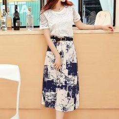 Jolly Club - Set: Lace Top + Printed Midi Skirt