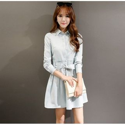 lilygirl - Long-Sleeve Linen-blend Shirtdress