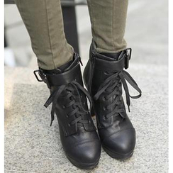 REDOPIN - Platform Lace-Up Booties