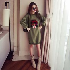Ashlee - Furry Trim Cartoon Applique Pullover Dress