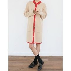FROMBEGINNING - Collared Contrast-Trim Knit Dress