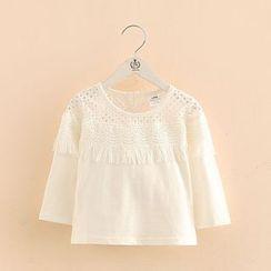 Seashells Kids - Kids Crochet Yoke Long Sleeve T-Shirt