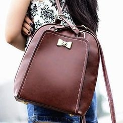 Sugar Plum - Metal Bow Convertible Faux Leather Backpack